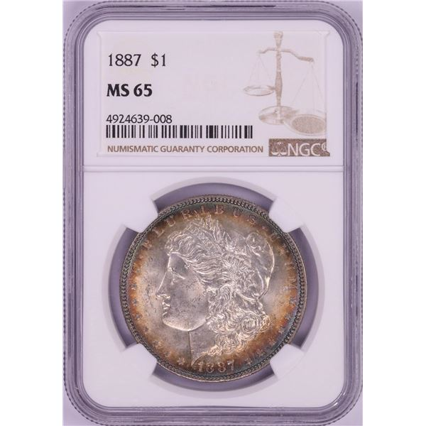 1887 $1 Morgan Silver Dollar Coin NGC MS65 Amazing Toning