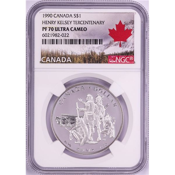 1990 $1 Proof Canada Henry Kelsey Tercentenary Silver Dollar Coin NGC PF70 Ultra Cameo