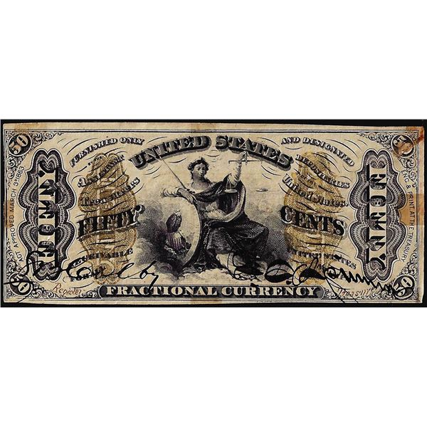 March 3, 1863 Third Issue Fifty Cents Fractional Currency Note