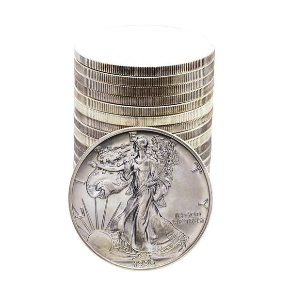 Roll of (20) Brilliant Uncirculated 1990 $1 American Silver Eagle Coins