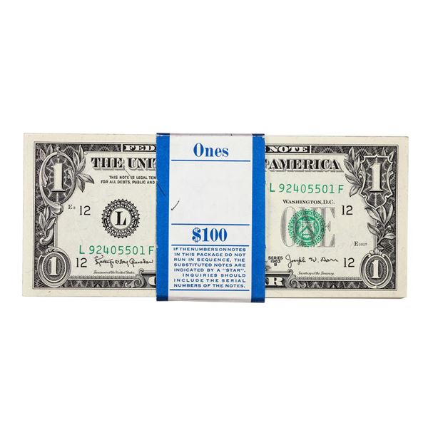 Pack of (100) Consecutive 1963B $1 Federal Reserve Barr Notes