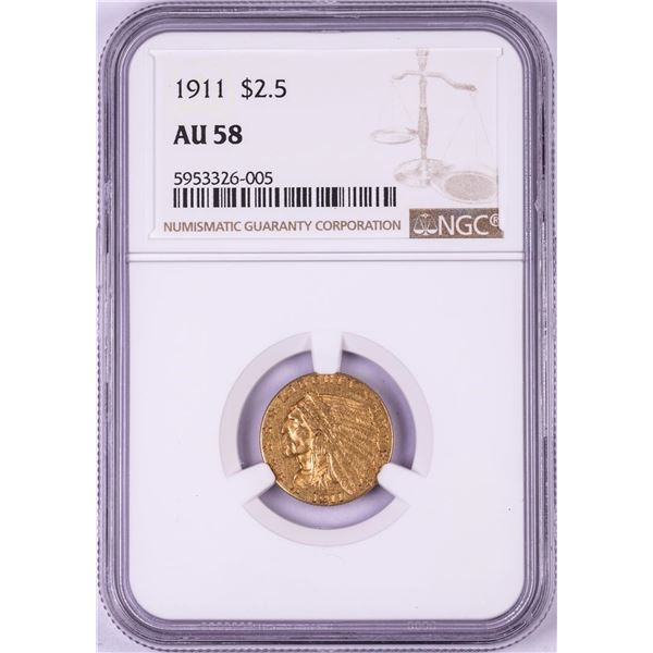 1911 $2 1/2 Indian Head Quarter Eagle Gold Coin NGC AU58