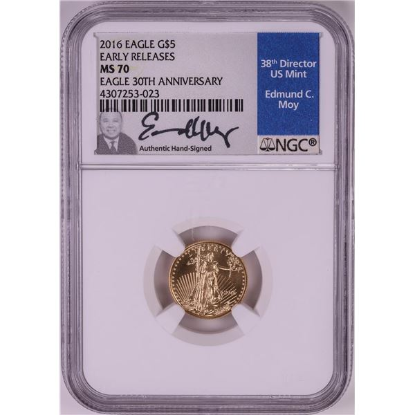 2016 $5 American Gold Eagle Coin NGC MS70 Edmund Moy Signature Early Releases