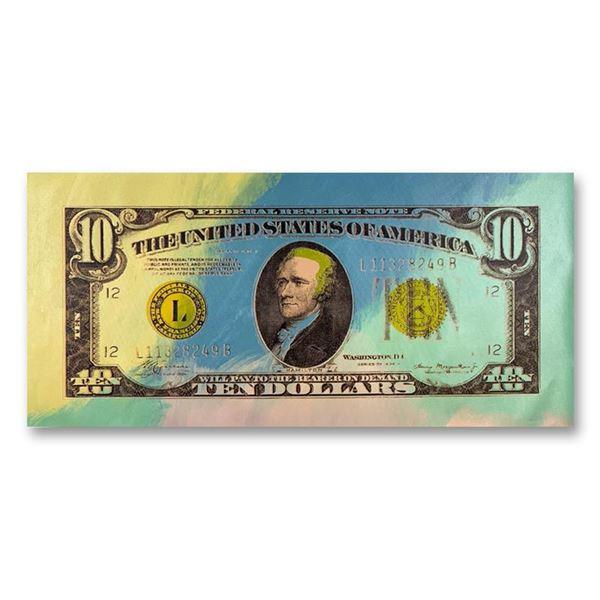 "Steve Kaufman (1960-2010) ""1934 Ten Dollar Hamilton Bill"" Original Mixed Media On Canvas"