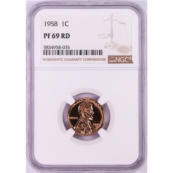 1958 Proof Lincoln Wheat Cent Coin NGC PF69RD