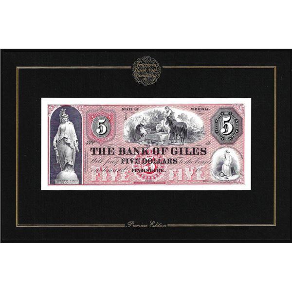 1994 American Bank Note Company Intaglio Print The Bank of Giles Pearisburg, VA