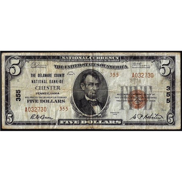1929 $5 The Delaware County NB of Chester Pennsylvania CH# 355 National Currency Note