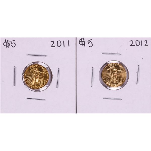 Lot of 2011-2012 $5 American Gold Eagle Coins