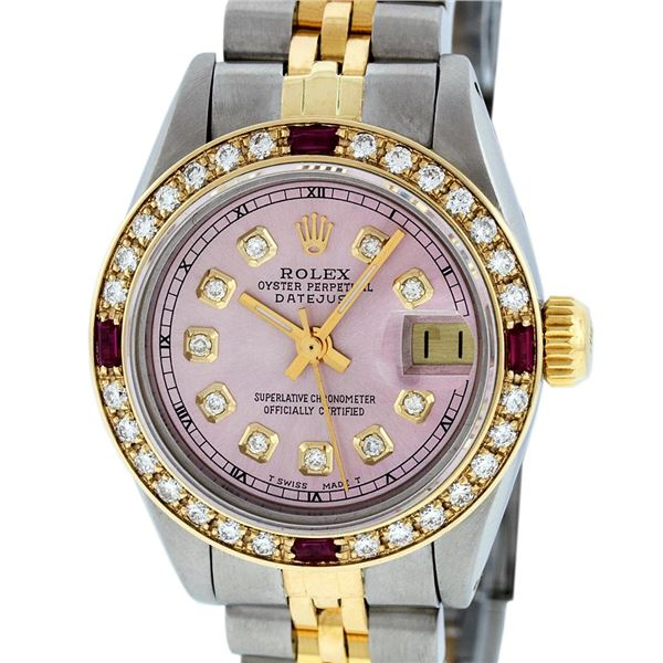 Rolex Ladies Two Tone Ice Pink Diamond & Ruby Oyster Perpetual Datejust Watch