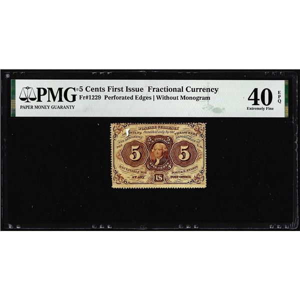 1862 First Issue 5 Cent Fractional Currency Note Fr.1229 PMG Extremely Fine 40EPQ