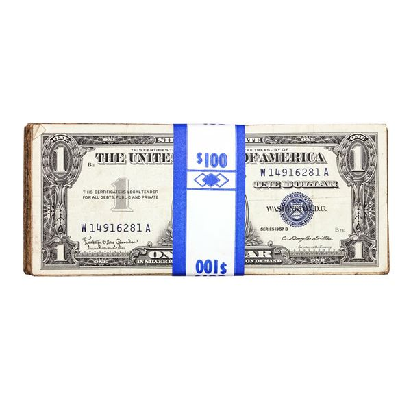 Lot of (100) 1957B $1 Silver Certificate Notes