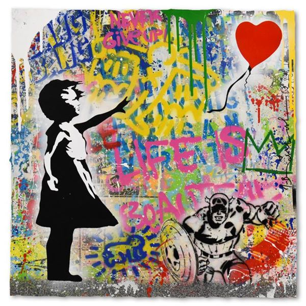 Mr. Brainwash  Balloon Girl  One-of-a-Kind Hand Signed Original Mixed Media