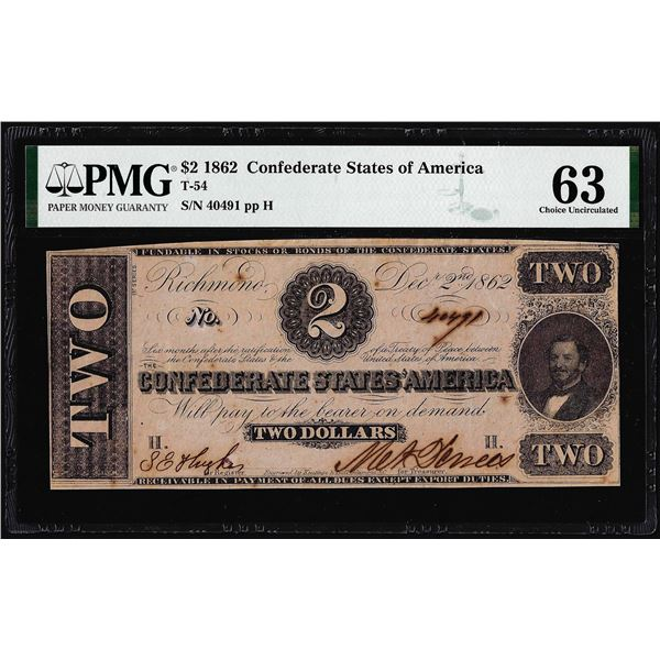 1862 $2 Confederate States of America Note T-54 PMG Choice Uncirculated 63