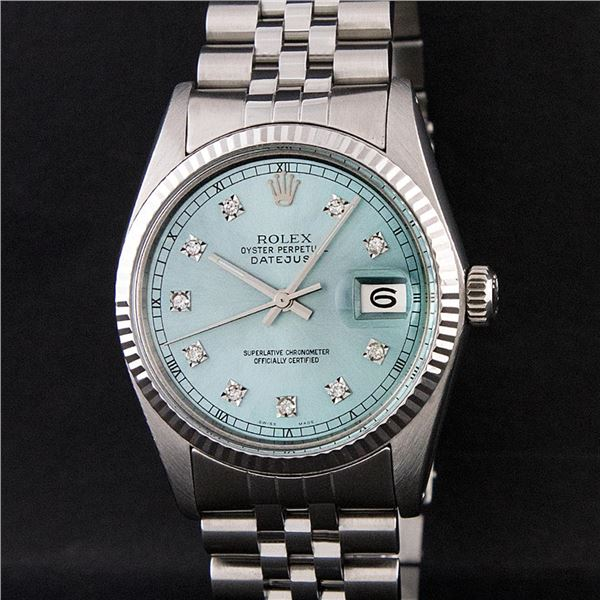Rolex Men's Stainless Steel Ice Blue Diamond Oyster Perpetual Datejust Wristwatch