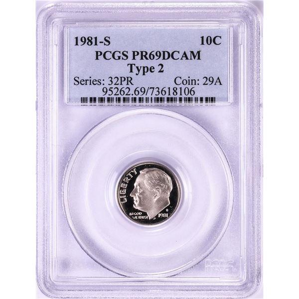 1981-S Type 2 Proof Roosevelt Dime Coin PCGS PR69DCAM