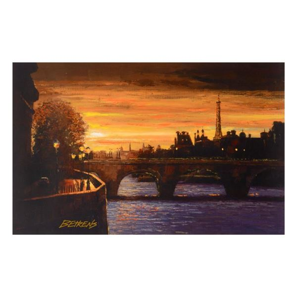 """Behrens (1933-2014) """"Twilight On The Seine Ii"""" Limited Edition Giclee On Canvas"""