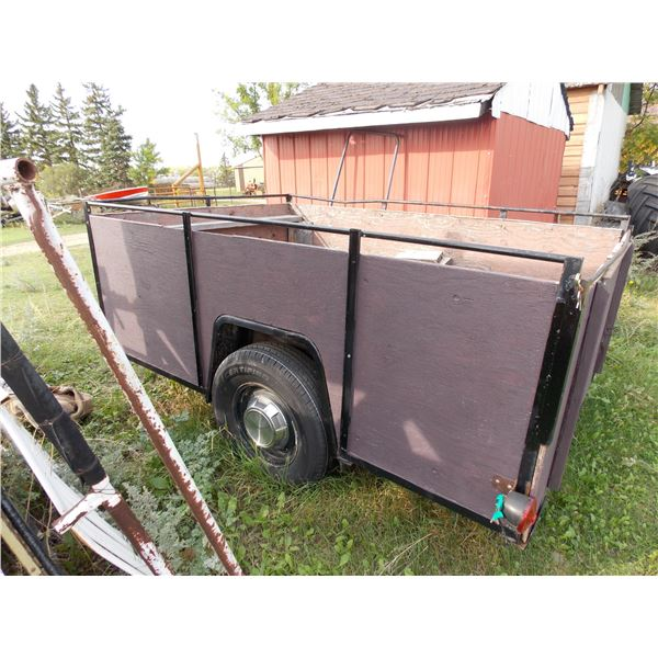 """Transport Trailer 65"""" Wide x 99"""" L, with 34"""" high wooden sides, spare tire + light"""