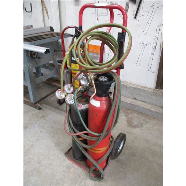 acetylene tanks with cart