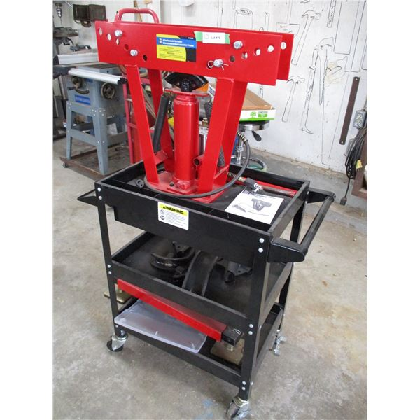 12 ton powerfist pneumatic pipe bender with stand on casters + attachments