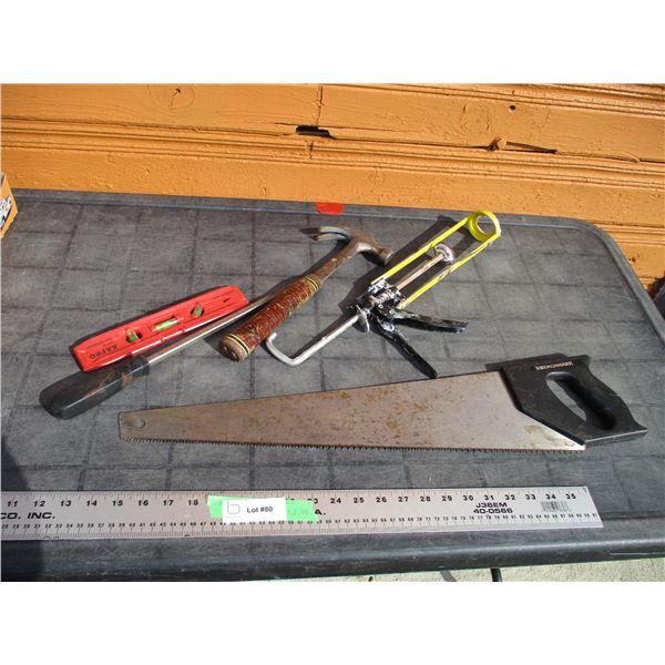 level, hand saw, hammer, screwdriver