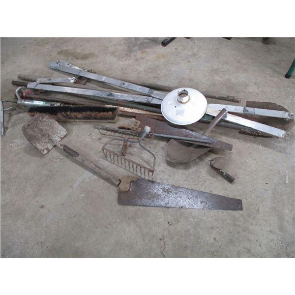 scrap iron, shovels, barrel pump, misc