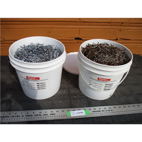 """2X The Money - pail of galvanized barbed staples, pail of 3"""" nails"""