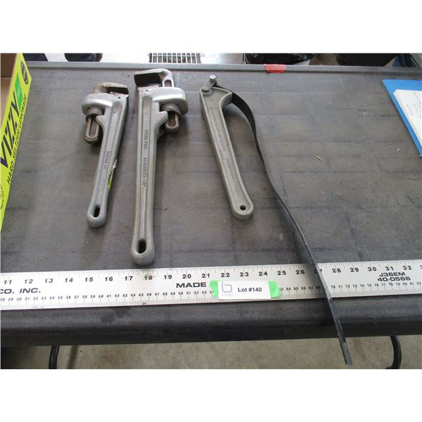 """Powerfist aluminum 14, 18"""" pipe wrench + misc"""