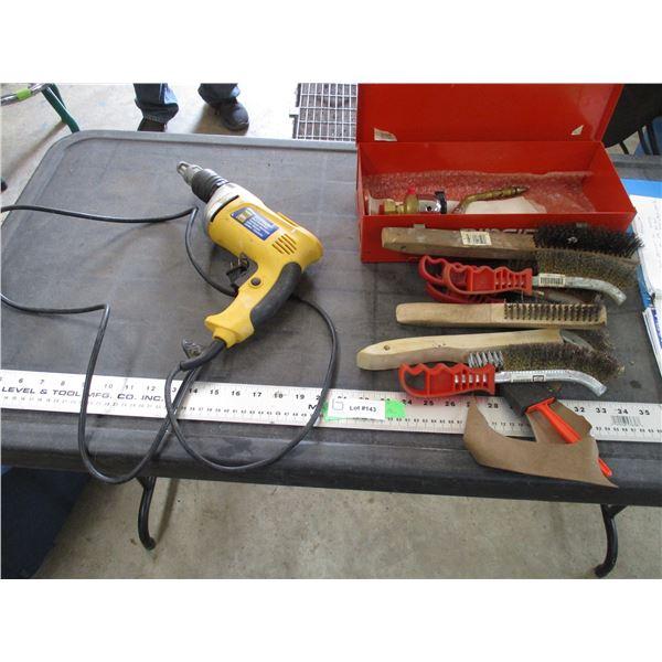 Powerfist electric drywall deck screw gun, wire brusher + misc