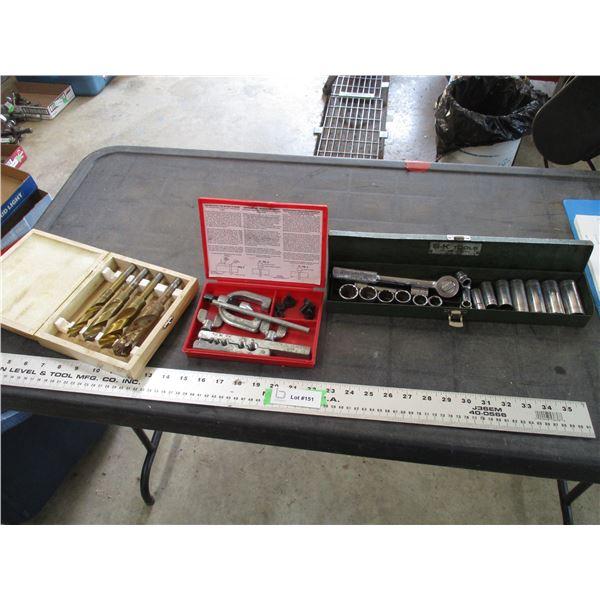 High Speed Drill Bits, flairing tool, socket + ratchet