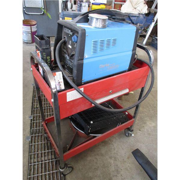 clark weld mig welder electric wire with cart on wheels