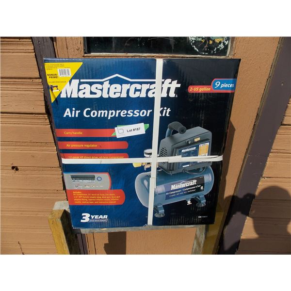 Mastercraft 2 Gallon 9 piece air compressor kit NEW in box