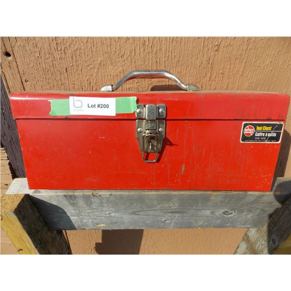 Red Metal Toolbox With Misc Tools + Parts