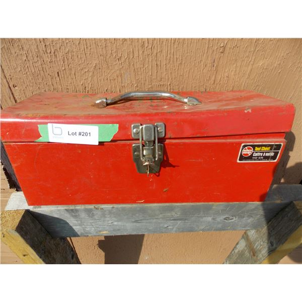 Red Metal Toolbox With Misc NEW Brass Pipe Fittings