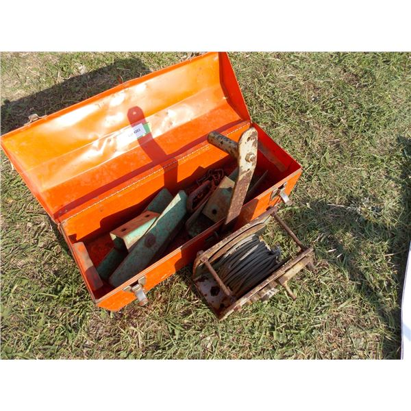 Orange Metal Toolbox with Assorted Hitch Parts