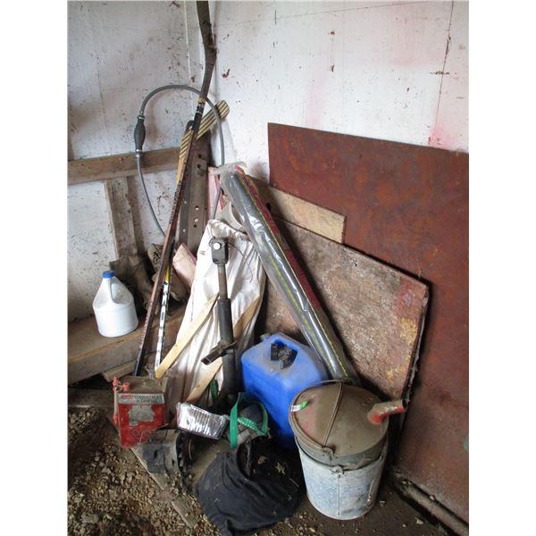 Hockey Sticks, Vintage skates, boat tank hose, wooden stakes, galvanized pail, misc