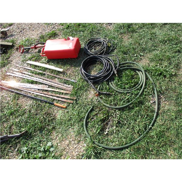Gas Can, saw blade, hose, extension cord, magnet