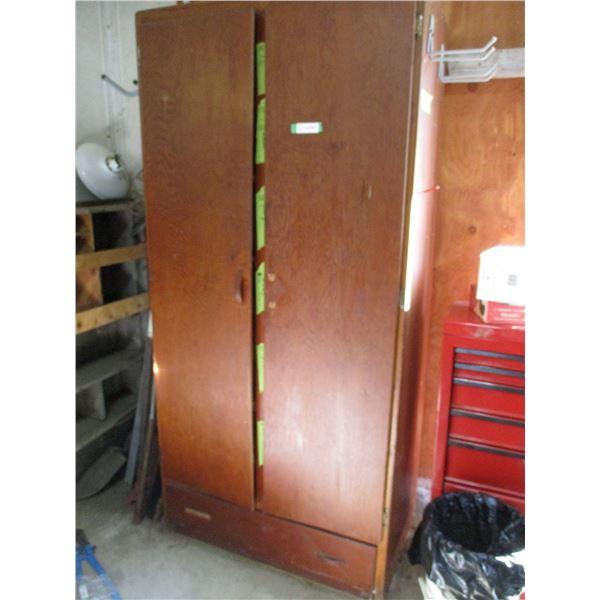 "wood 2 door wardrobe (NO Contents - comes empty) 37""x21""x77""H"