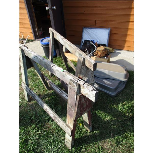 Wooden saw horses, furance filters, toolbelt with misc
