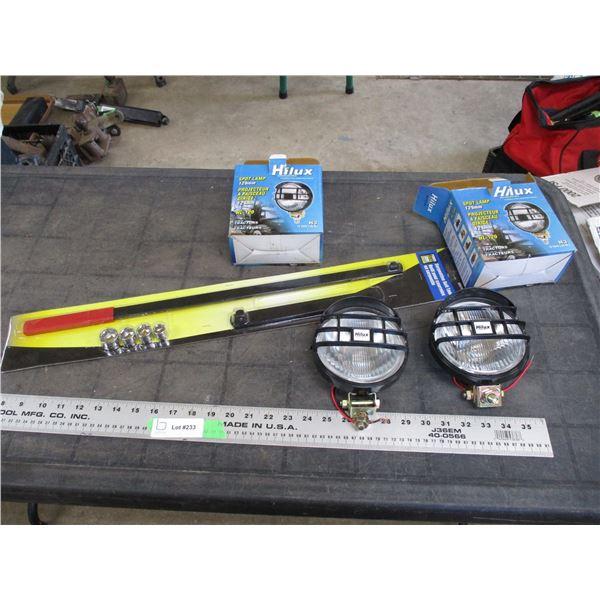 Powerfist serpentine belt tool (new), plus 2 spot lights