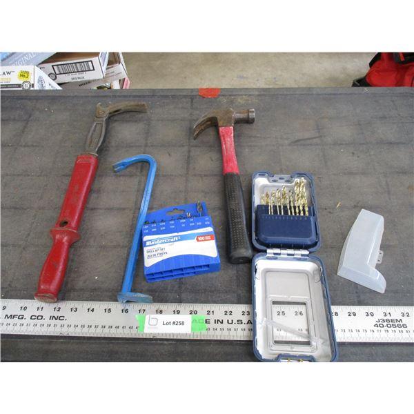 Drill Bits, nail puller + hammer