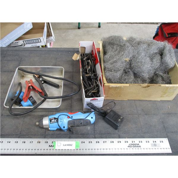4V Dual Driver, Allen wrenches, steel wool