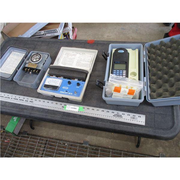 Hach conductivity meter, Hach colorimeter + misc