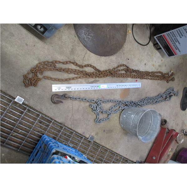 (2) chains plus galvanized pail