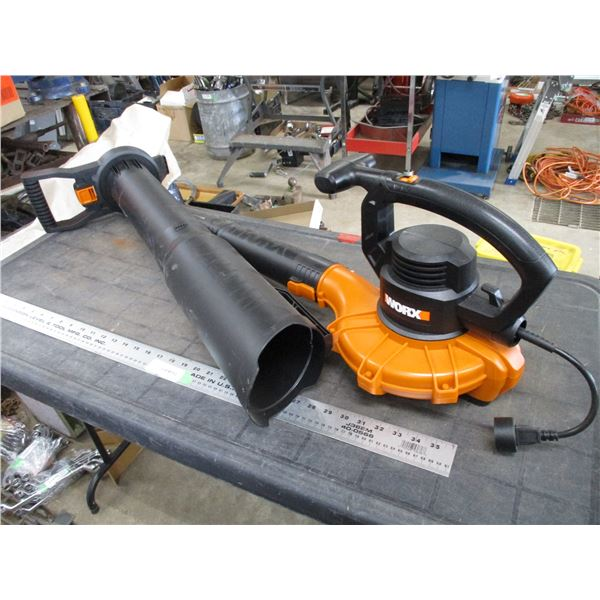 Worx Electric Leaf Blower with attachments