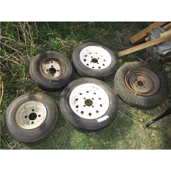 Trailer rims + tires + other tires with rims