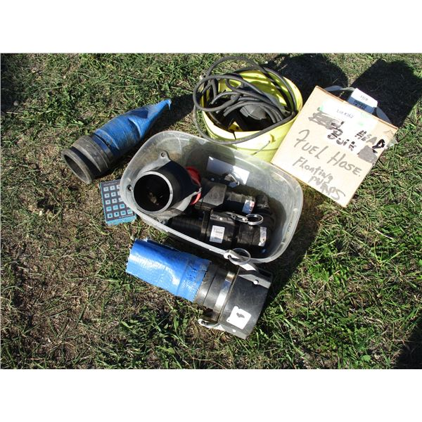 Sump Pump switches, water hose, couplers + misc