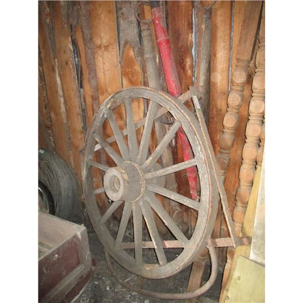 "3 eveners + wood wagon wheel (44"" diameter)"