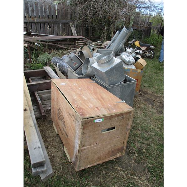 storage box with galvanized fitting, ductwork (large lot)