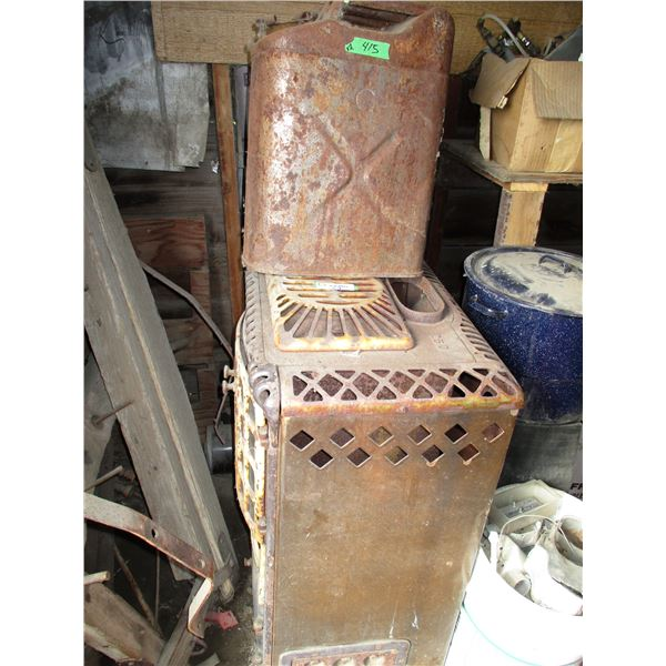 vintage stove with vintage metal gas can