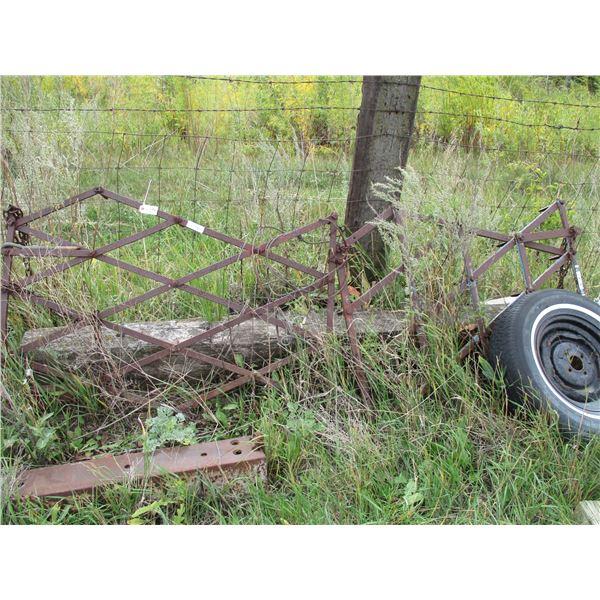 yard drag fence poles, misc